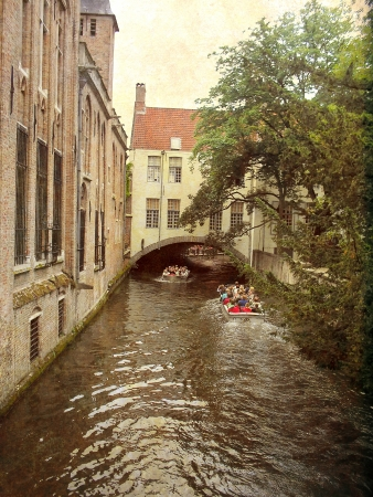 Canal in Bruges, Belgium  Artistic picture in retro style