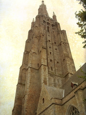 gothica: Medieval church building in Brugge, Belgium  Artistic picture in retro style