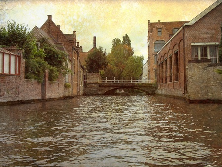 Artistic picture in retro style  Canal in Bruges, Belgium  Stock Photo