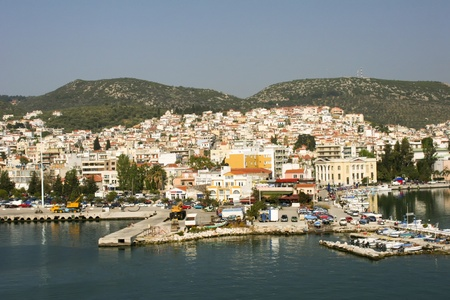 The town and harbour of the town of Molyvos or Mithymna on Lesbos or Lesvos island, Greece
