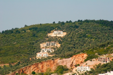 The Greek houses of Molyvos on the Island of Lesvos built on a hillside