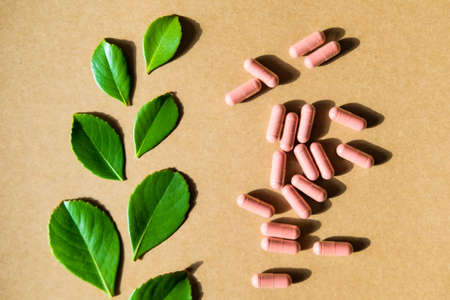 Herbal supplement in brown capsules and green leaves on kraft paper background. Top view, healthcare concept.
