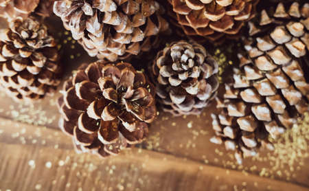 Christmas festive styled pine cones and golden glitters background. Winter holidays concept. Stock Photo
