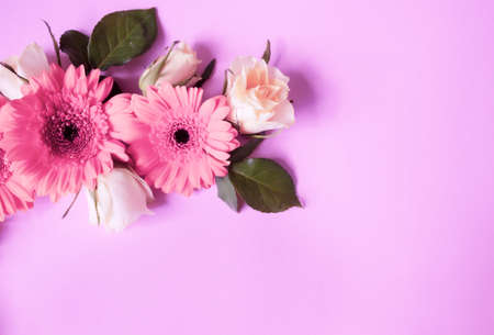 Beautiful roses and gerbera flowers on neon lilac background, festive concept. Imagens