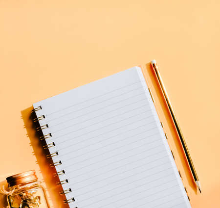 White Notebook and golden pencil and paper clips on pastel background. Back to school concept. 免版税图像
