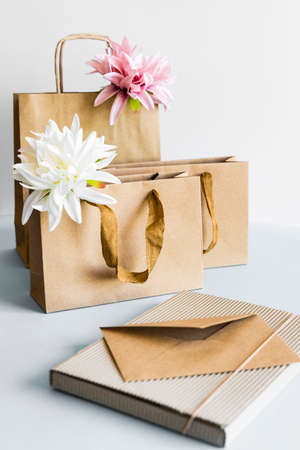 Zero waste concept, kraft brown paper bags and envelope on light background.