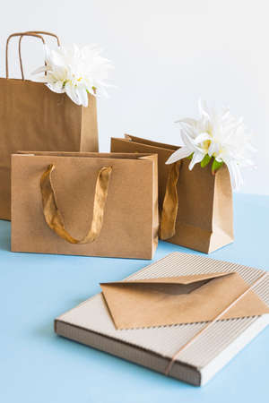 Zero waste concept, kraft brown paper bags and envelope on blue white background. 免版税图像