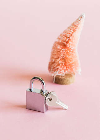 Coconut fiber orange Christmas tree and silver metal padlock with keys on pink white background.