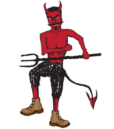 Illustrated 50s style devil with pitchfork and boots.