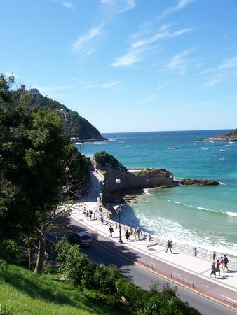 Spainish Coastline in San Sebastian Stock Photo