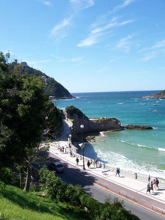 spainish: Spainish Coastline in San Sebastian Stock Photo