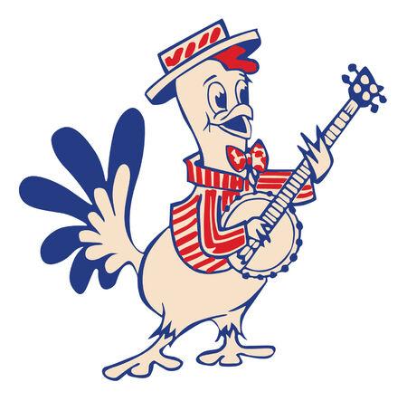 country music: Banjo giocare Paese di pollo Vettoriali