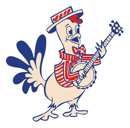 country music: Banjo playing Country Chicken Illustration