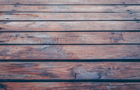 Wooden background with streaks of water. Wooden wooden boards and background. Retro style image. Side view. Copy space.