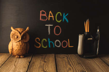 Back to school, the concept of parenting. An assortment of consumables, owl, notebook, pencils, stand for pens. The inscription on the slate black chalk. School supplies on a wooden table, rustic.