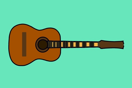 Classical acoustic guitar. Isolated silhouette of a classic guitar. Stock Photo