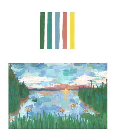 Sunset on the lake, handmade art landscape background, palette– stock image