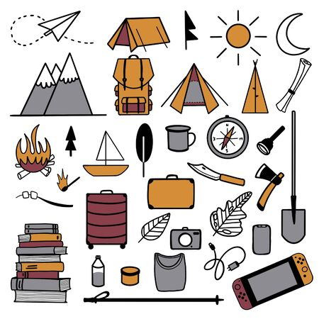 Raster illustration. Set of camping equipment and items for a trip