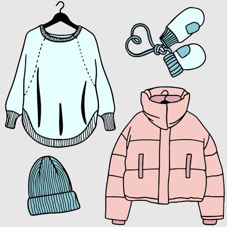 Set of winter clothes. Illustration of Different Items Commonly Worn on Winter Archivio Fotografico - 137796828