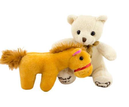 Fun toys fur bears and  horse isolated on white background