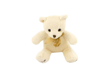 Merry fur toy bear isolated on white background Stock Photo