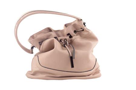 shoulder bag: Pink womens leather shoulder bag briefcase, isolated on white background