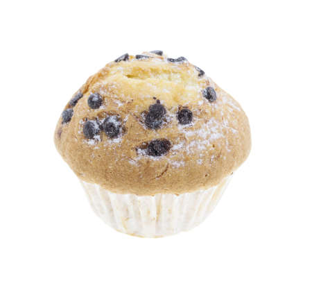 patisserie: chocolate chip muffin isolated on white background Stock Photo