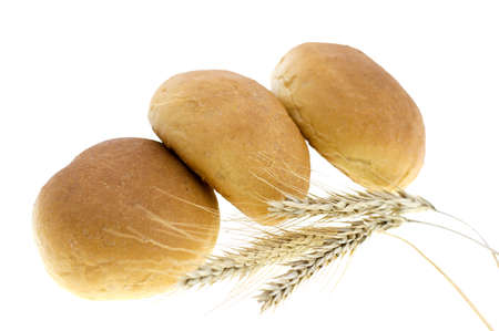 round wheat bread isolated on white background Stock Photo