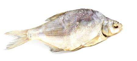 stockfish: Dry  fish isolated on white background. horizontal photo.