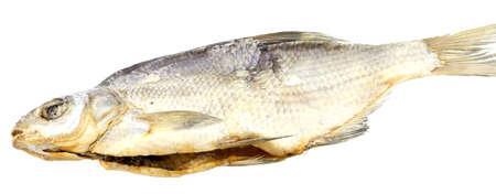 desiccation: Dry  fish isolated on white background. horizontal photo.