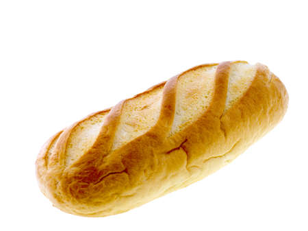 long loaf: Long loaf bread isolated on white. Stock Photo