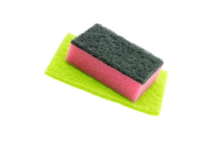 colored kitchen sponges isolated on white background Stock Photo
