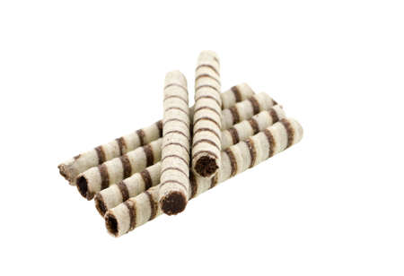 wafer rolls with chocolate isolated on white background Stock Photo