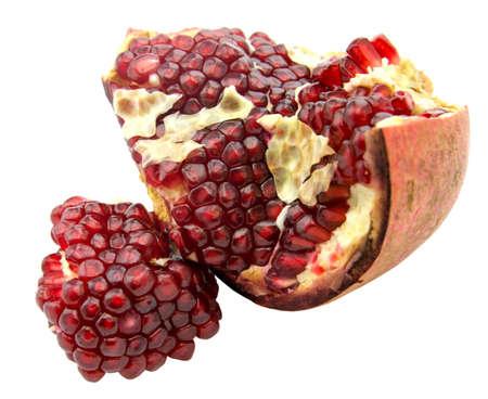 Ripe pomegranate fruit isolated on white background cutout, fresh garnet Stock Photo