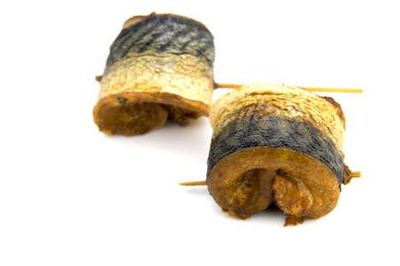 fillet of smoked mackerel isolated on white  Stock Photo