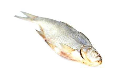 desiccation: Dry fish isolated on white background. horizontal photo. Stock Photo