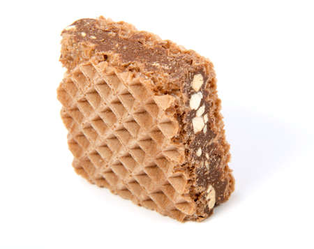 Wafers with chocolate on a white background