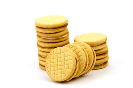 Shortbread biscuits on a white background Stock Photo