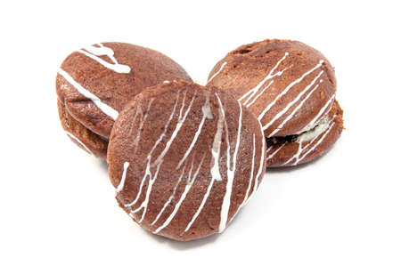 Gingerbread with chocolate isolated on the white background