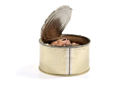 conserved: Opened metal can with conserved sardines fish isolated with clipping path