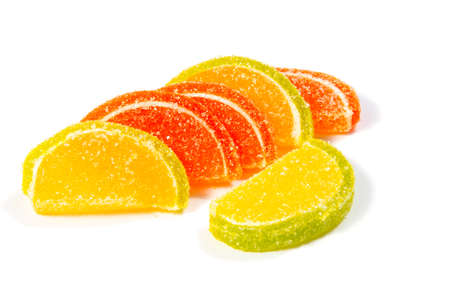 Jelly candies on white background. Gummy candy on a white background. Stock Photo