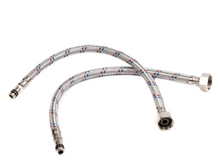 Hose flexible metal braid on a white background