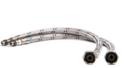kitchensink: Hose flexible metal braid on a white background