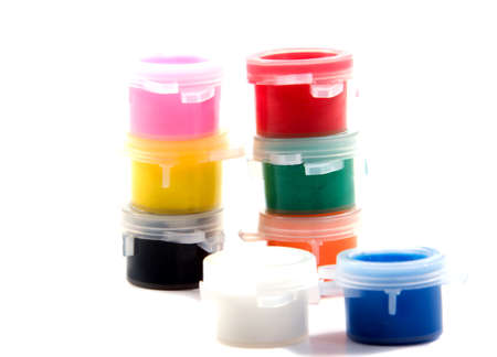 Set of gouache paint Isolated on white background.