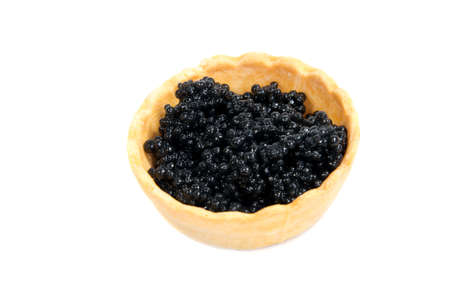sturgeon: Caviar in tartlet isolated on white background