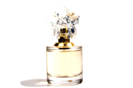 womens perfume in beautiful bottle isolated on white background