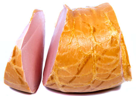 Boiled sausage ham slices on white background