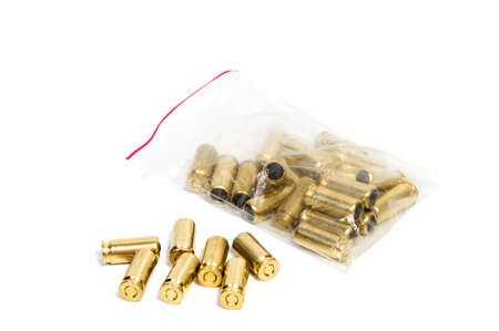 Bullets are a projectile expelled from the barrel of a firearm. Stock Photo