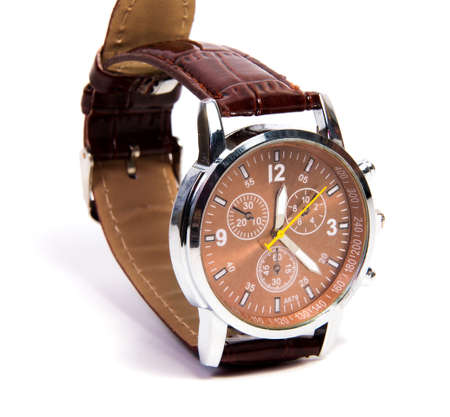Smart brown wristwatch isolated on a white background.