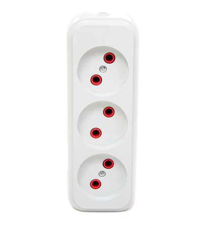 Power strip with  electrical sockets standard,   on a white background